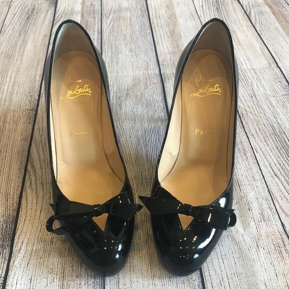 5cb66e622eaf ... shopping christian louboutin black patent bow pumps 3f417 95686